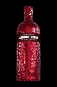 Absolut Masquerade: botella de vodka con lentejuelas