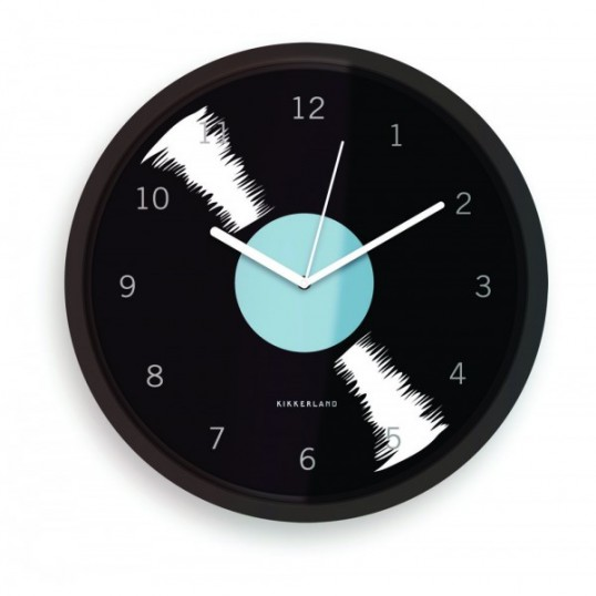 Reloj con forma de disco de vinilo